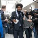Munichs  soccer player Dante on his way to board a plane to London at the  airport  in Munich, Germany Friday May 24, 2013. Bayern  Munich will play against  German rival Borussia Dortmund in a UEFA Champions League final on Saturday in London. (AP Photo/dpa, Lukas Barth)