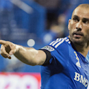 Montreal Impact's Marco Di Vaio celebrates after scoring against L.A. Galaxy during the first half of a soccer game, Wednesday, Sept. 10, 2014 in Montreal The Associated Press