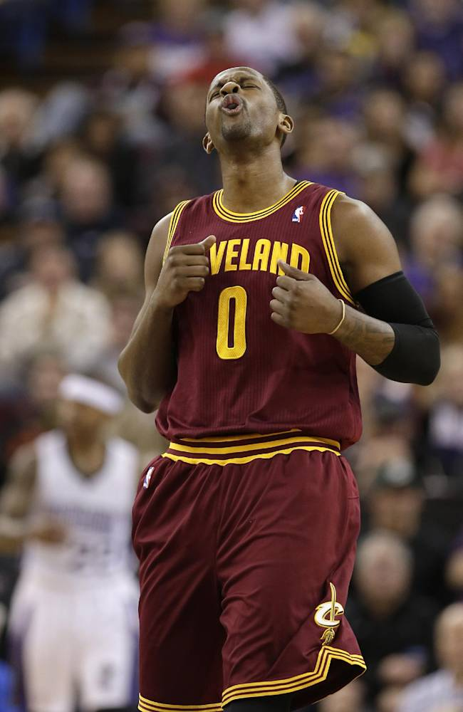 Cleveland Cavaliers guard C.J. Miles reacts after the Cavaliers were called for a foul during  the first quarter of an NBA basketball game against the Sacramento Kings in Sacramento, Calif., Sunday, Jan. 12, 2014