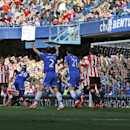 Chelsea's Samuel Eto'o, no 29, runs to celebrate his goal against Sunderland during an English Premier League soccer match at the Stamford Bridge ground in London, Saturday, April 19, 2014. Sunderland won the match 2-1