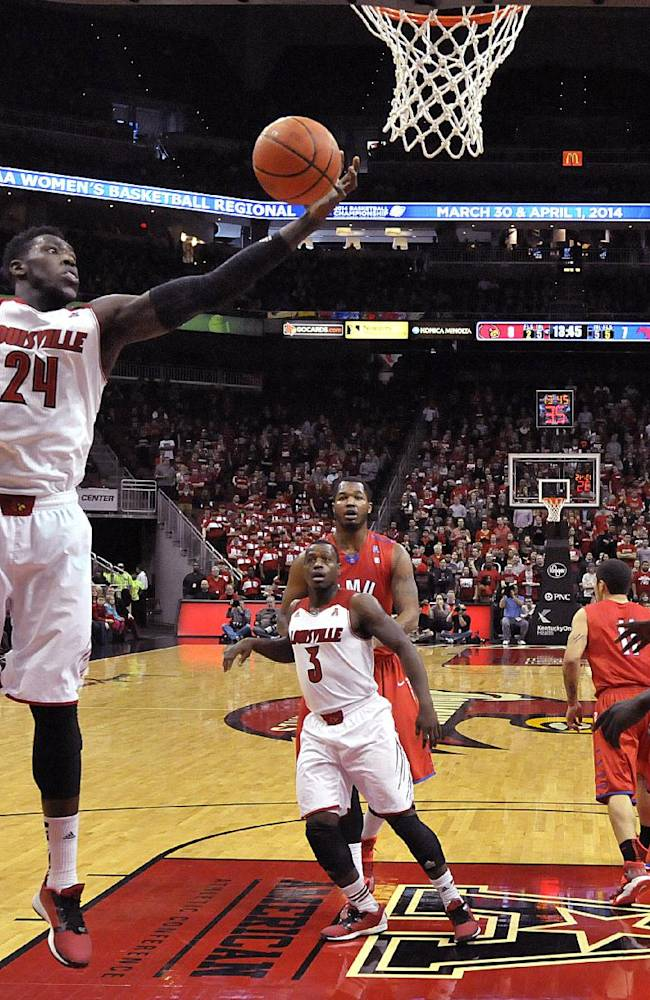 Louisville's Montrezl Harrell pulls down one of his game high 13 rebounds during the first half of an NCAA college basketball game Sunday Jan. 12, 2014, in Louisville, Ky. Louisville defeated SMU 71-63