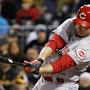 Cincinnati Reds' Jay Bruce drives in a run with a single off Pittsburgh Pirates starting pitcher Charlie Morton during the fifth inning of a baseball game in Pittsburgh on Wednesday, April 23, 2014. The Reds won 5-2 The Associated Press