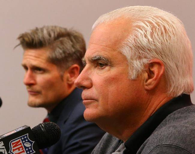 Atlanta Falcons general manager Thomas Dimitroff, left, and head coach Mike Smith hold an end of season news conference at the NFL football team's training facility after a 4-12 record on Monday, Dec. 30, 2013, in Flowery Branch, Ga