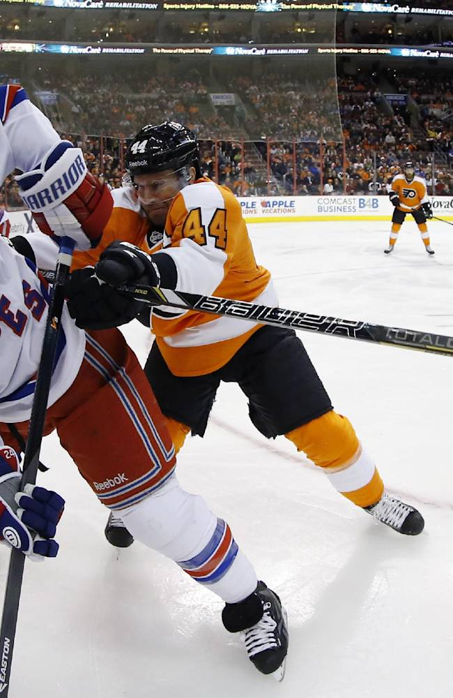 Philadelphia Flyers' Kimmo Timonen, right, shoves New York Rangers' Ryan Callahan into the corner during the first period of an NHL hockey game, Saturday, March 1, 2014, in Philadelphia