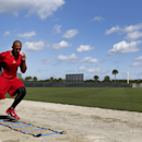 St. Louis Cardinals' Jon Jay works out during spring training baseball practice Saturday, Feb. 15, 2014, in Jupiter, Fla The Associated Press