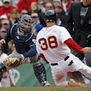 Milwaukee Brewers catcher Jonathan Lucroy prepares to tag out Boston Red Sox's Grady Sizemore (38) trying to score on a sacrifice fly during the second inning at Fenway Park in Boston, Friday, April 4, 2014 The Associated Press