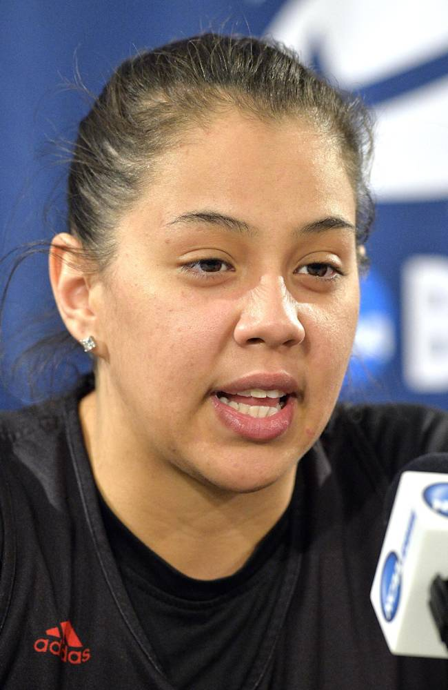 Louisville's Shoni Schimmel answers a question during a news conference for the Louisville Regional final in the women's NCAA college basketball tournament Monday, March 31, 2014, in Louisville, Ky. Louisville plays Maryland on Tuesday