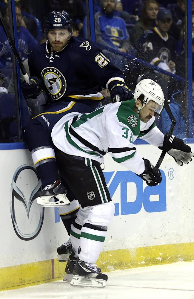 St. Louis Blues' Ian Cole, left, and Dallas Stars' Vernon Fiddler collide along the boards during the first period of an NHL hockey game Saturday, Nov. 23, 2013, in St. Louis