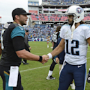 Tennessee Titans quarterback Charlie Whitehurst (12) shakes hands with Jacksonville Jaguars quarterback Blake Bortles (5) after an NFL football game Sunday, Oct. 12, 2014, in Nashville, Tenn. The Titans won 16-14 The Associated Press