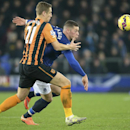 Everton's Ross Barkley, right and Hull City's Michael Dawson battle for the bal during their English Premier League match at Goodison Park, Liverpool England Wednesday Dec. 3, 2014