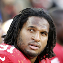 San Francisco 49ers defensive tackle Ray McDonald (91) sits on the bench during the fourth quarter of an NFL football game against the Washington Redskins in Santa Clara, Calif., Sunday, Nov. 23, 2014. (AP Photo/Tony Avelar)