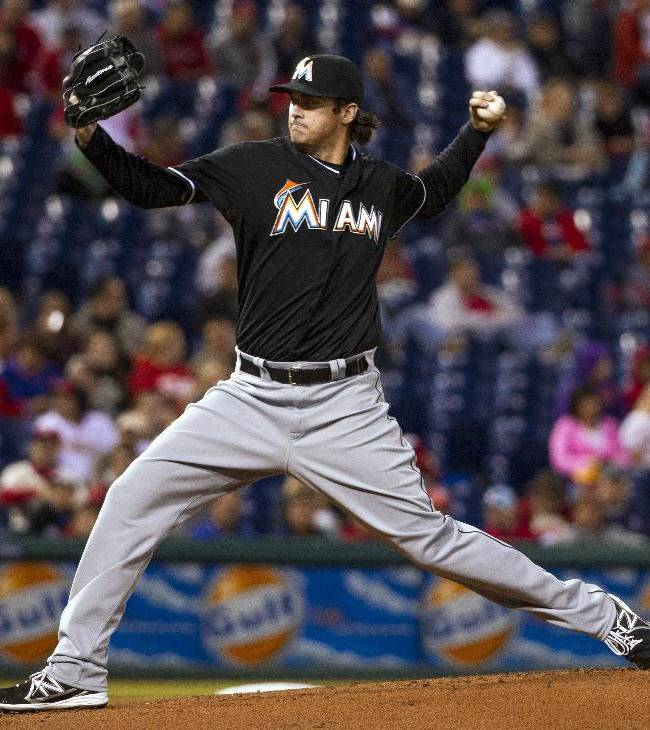Miami Marlins starting pitcher Brian Flynn delivers against the Philadelphia Phillies during the first inning of a baseball game, Tuesday, Sept. 17, 2013, in Philadelphia