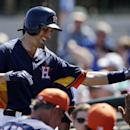 Houston Astros' Jason Castro is congratulated in the dugout after his home run during the sixth inning of a spring training baseball game against the Toronto Blue Jays in Kissimmee, Fla., Sunday, March 9, 2014 The Associated Press
