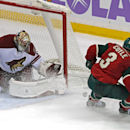 Arizona Coyotes goalie Mike Smith blocks a shot by Minnesota Wild's Charlie Coyle during the third period of an NHL hockey game, Thursday, Oct. 23, 2014, in St. Paul, Minn. The Wild won 2-0 The Associated Press