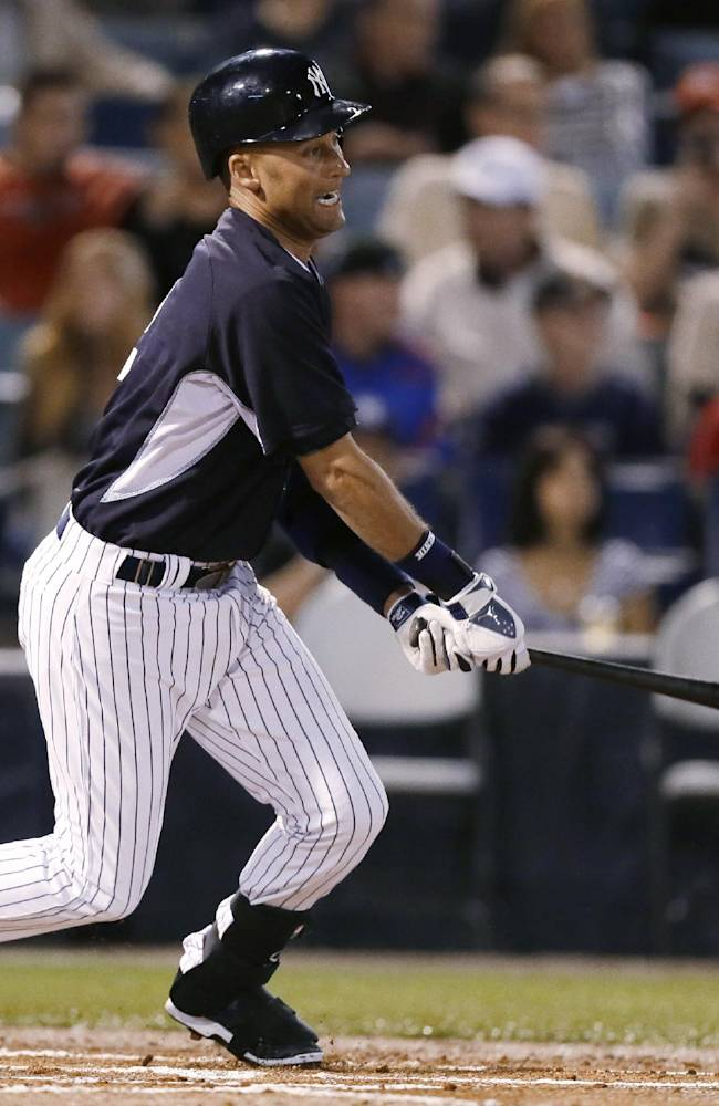 New York Yankees designated hitter Derek Jeter grounds out during the first inning of the Yankees' exhibition baseball game against the Baltimore Orioles on Tuesday, March 4, 2014, in Tampa, Fla