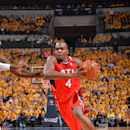 INDIANAPOLIS, IN - MAY 03: Paul Millsap #4 of the Atlanta Hawks drives to the basket during game Seven of the Eastern Conference Playoffs against the Indiana Pacers at the Bankers Life Fieldhouse on May 3, 2014 in Indianapolis, Indiana. (Photo by Jesse Garrabrant/NBAE via Getty Images)
