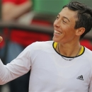 Italy's Francesca Schiavone celebrates winning against France's Marion Bartoli in their third round match at the French Open tennis tournament, at Roland Garros stadium in Paris, Saturday, June 1, 2013. Schiavone won in two sets 6-2, 6-1. (AP Photo/Christophe Ena)