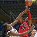 Illinois' Karisma Penn, left, and Georgia's Jasmine James (10) tangle during the first half of an NCAA college basketball game Friday, Dec. 28, 2012, in Champaign, Ill. (AP Photo/Robert K. O'Daniell)