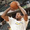 INDIANAPOLIS, IN - MARCH 21: Paul George #13 of the Indiana Pacers warms up before the game against the Brooklyn Nets on March 21, 2015 at Bankers Life Fieldhouse in Indianapolis, Indiana. (Photo by Ron Hoskins/NBAE via Getty Images)