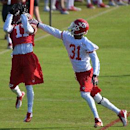 Kansas City Chiefs receiver Donnie Avery (17) catches a pass as Marcus Cooper (31) defends during practice Thursday morning Aug. 14, 2014, on the Missouri Western State University campus in St. Joseph. Mo The Associated Press