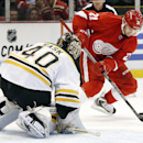 Boston Bruins goalie Tuukka Rask (40) stops a shot by Detroit Red Wings left wing Tomas Tatar (21) in the second period of an NHL hockey game in Detroit Thursday, Oct. 9, 2014 The Associated Press