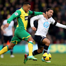 Norwich City's Martin Olsson, left, and Tottenham Hotspur's Aaron Lennon compete for the ball during their English Premier League soccer match at Carrow Road, Norwich, England, Sunday, Feb. 23, 2014