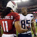 Arizona Cardinals wide receiver Larry Fitzgerald (11) greets San Diego Chargers tight end Antonio Gates (85) after an NFL football game, Monday, Sept. 8, 2014, in Glendale, Ariz. The Cardinals won 18-17 The Associated Press