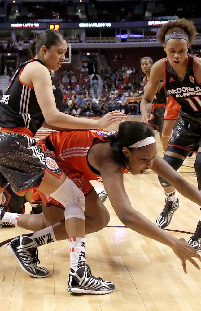 McDonald's East All American Jatarie White, center, loses control of the ball as McDonald's West All-American Recee' Caldwell, left, and Brianna Turner defend, during the first half of the McDonald's All-American girls' basketball game Wednesday, April 2, 2014, in Chicago