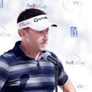Jan 27, 2015; Scottsdale, AZ, USA; Robert Allenby speaks with members of the media during his press conference during a practice round at TPC Scottsdale Stadium Course. Mandatory Credit: Allan Henry-USA TODAY Sports