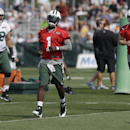 New York Jets quarterback Michael Vick (1) warms up with teammates Matt Simms (5) and Breno Giacomini (68) at practice during NFL football training camp Friday, July 25, 2014, in Cortland, N.Y. (AP Photo) The Associated Press