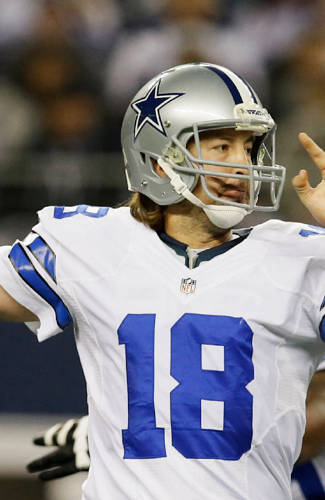 Dallas Cowboys quarterback Kyle Orton (18) passes the ball against the Philadelphia Eagles during the first half of an NFL football game, Sunday, Dec. 29, 2013, in Arlington, Texas