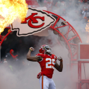 FILE - In this Nov. 16, 2014, file photo, Kansas City Chiefs strong safety Eric Berry enters the field prior to an NFL football game against the Seattle Seahawks in Kansas City, Mo. Berry, cleared by the Kansas City medical staff and his own doctors after a battery of tests Tuesday, July 28, 2015, is returning to the practice field, less than eight months after a stunning cancer diagnosis threatened to derail his Pro Bowl career. (AP Photo/Ed Zurga, File)