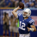 Indianapolis Colts quarterback Andrew Luck throws against the Tennessee Titans during the first half an NFL football game in Indianapolis, Sunday, Sept. 28, 2014. The Associated Press