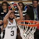 Marco Belinelli of the San Antonio Spurs shoots during the three-point contest during the skills competition at the NBA All Star basketball game, Saturday, Feb. 15, 2014, in New Orleans The Associated Press