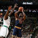 BOSTON, MA - APRIL 26: LeBron James #23 of the Cleveland Cavaliers shoots against the Boston Celtics in Game Four of the Eastern Conference Quarterfinals during the 2015 NBA Playoffs on April 26, 2015 at TD Garden in Boston, Massachusetts. (Photo by Brian Babineau/NBAE via Getty Images)