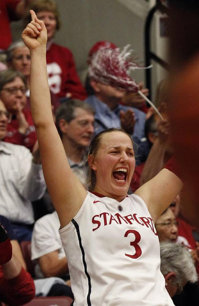 Stanford's Mikaela Ruef reacts during the second half of an NCAA college basketball game against California, Thursday, Jan. 30, 2014 in Berkeley, Calif