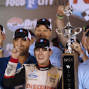 Ryan Blaney celebrates after winning the NASCAR Nationwide series auto race at Bristol Motor Speedway on Friday, Aug. 22, 2014, in Bristol, Tenn. (AP Photo/Wade Payne)
