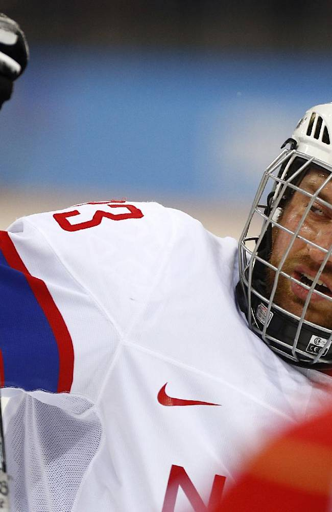 Norway's captain Jan Roger Klakegg looks on during the ice sledge hockey semifinal match against Russia at the 2014 Winter Paralympics in Sochi, Russia, Thursday March 13, 2014. Russia won 4-0
