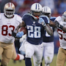 In this Oct. 20, 2013, file photo, Tennessee Titans running back Chris Johnson (28) runs ahead of San Francisco 49ers defenders Demarcus Dobbs (83) and NaVorro Bowman (53) on a touchdown reception in an NFL football game in Nashville, Tenn. The New York