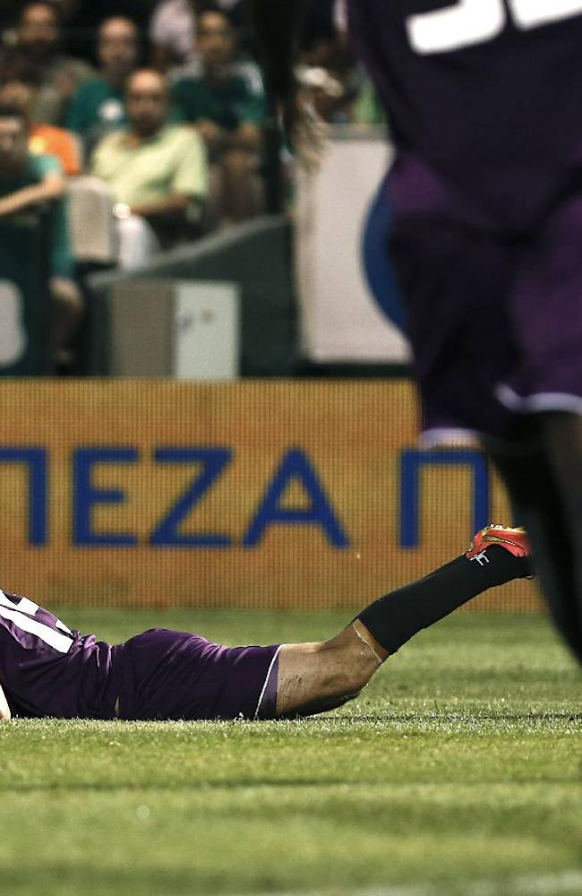 Midtjylland's Jesper Lauridsen reacts after misses a change to score against Panathinaikos during their first leg play-offs Europa League soccer match at the Apostolos Nikolaidis stadium in Athens on Thursday, Aug. 21, 2014