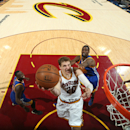 CLEVELAND, OH - JUNE 16: Timofey Mozgov #20 of the Cleveland Cavaliers goes up to shoot during Game Six of the 2015 NBA Finals at The Quicken Loans Arena on June 16, 2015 in Cleveland, Ohio. (Photo by Nathaniel S. Butler/NBAE via Getty Images)