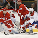 Detroit Red Wings left wing Justin Abdelkader (8) tries to redirect a shot as Montreal Canadiens defenseman P.K. Subban (76) defends in the second period of an NHL hockey game in Detroit Sunday, Nov. 16, 2014 The Associated Press