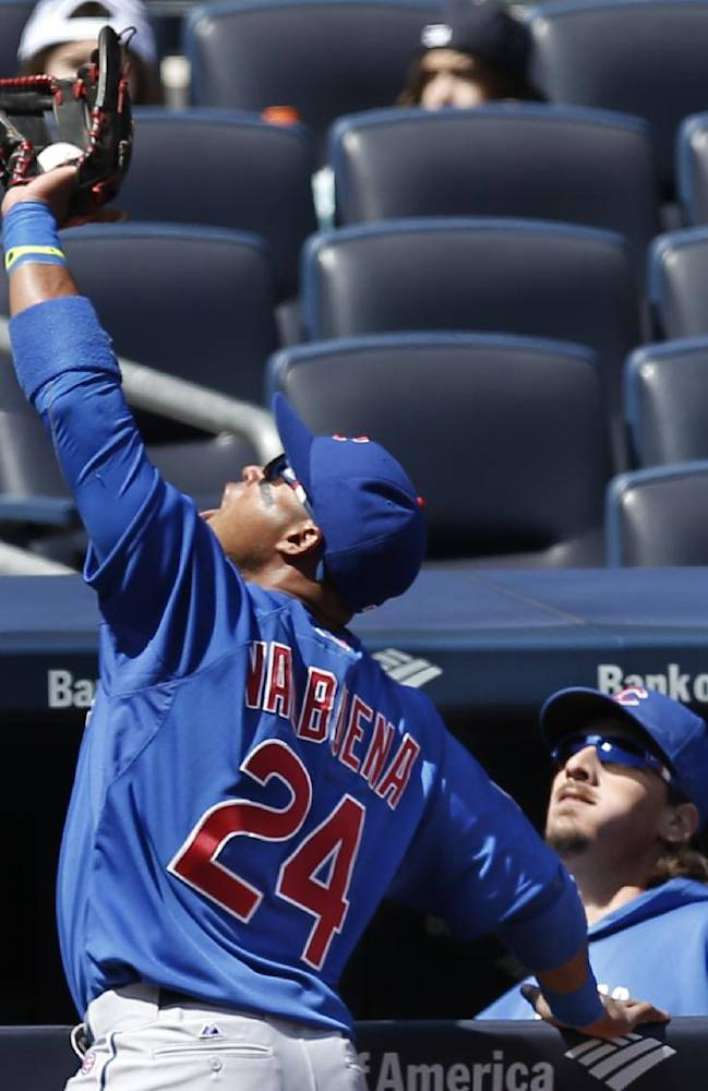 Chicago Cubs third baseman Luis Valbuena (24) catches Dean Anna's second inning pop out in front of the Cubs dugout in Game 1 of an interleague baseball doubleheader at Yankee Stadium in New York, Wednesday, April 16, 2014