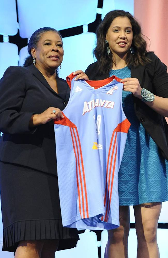 Louisville's Shoni Schimmel holds up an Atlanta Dream jersey with WNBA president Laurel J. Richie after Atlanta selected Schimmel as the No. 8 pick in the WNBA basketball draft in, Monday, April 14, 2014, in Uncasville, Conn