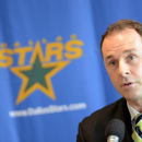 Dallas Stars general manager Joe Nieuwendyk speaks at a news conference announcing the hiring of head coach Glen Gulutzan,  M