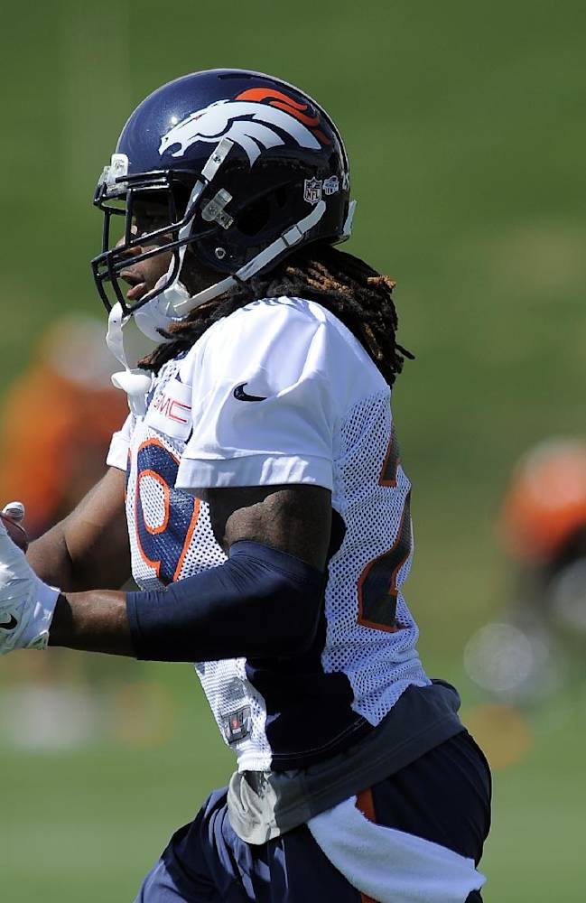 Denver Broncos cornerback Bradley Roby catches a pass during a drill at NFL football practice in Englewood, Colo., on Monday, Aug. 25, 2014