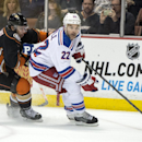 The Ducks' Andrew Cogliano, left, chases the Rangers' Dan Boyle during a game in Los Angeles on Wednesday night Jan. 7, 2014 The Associated Press