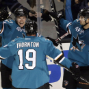 San Jose Sharks center Tomas Hertl (48), of the Czech Republic, celebrates his goal with teammates Joe Thornton (19) and Marc-Edouard Vlasic (44) during the first period of an NHL hockey game Saturday, Oct. 11, 2014, in San Jose, Calif The Associated Pre
