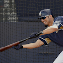 Milwaukee Brewers starting pitcher Matt Garza (22) bunts the ball during a spring training baseball practice, Saturday, Feb. 22, 2014, in Phoenix The Associated Press