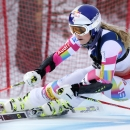 Lindsey Vonn skis the women's giant slalom skiing course as a forerunner before the first run of the women's giant slalom race at the U.S. Alpine Ski Championship in Carrabassett Valley, Maine, Thursday, March 26, 2015. (AP Photo/Charles Krupa)
